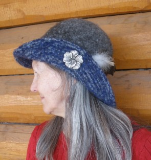 Barbara is modeling Renate's latest felted hat.