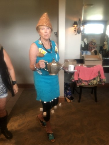 "Marilyn Westrum modeling her ""tea party"" attire"