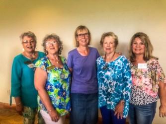 Maxine Williams, Bonnie Scriba, Martha Roy, Marilyn Westrum, Paula Byrd in the buffet line