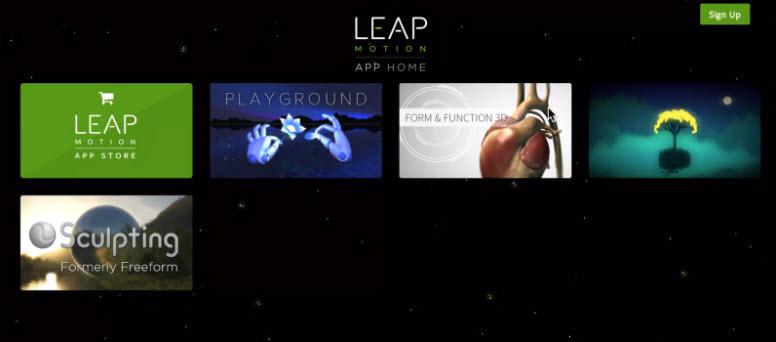 Leap Motion app home screen