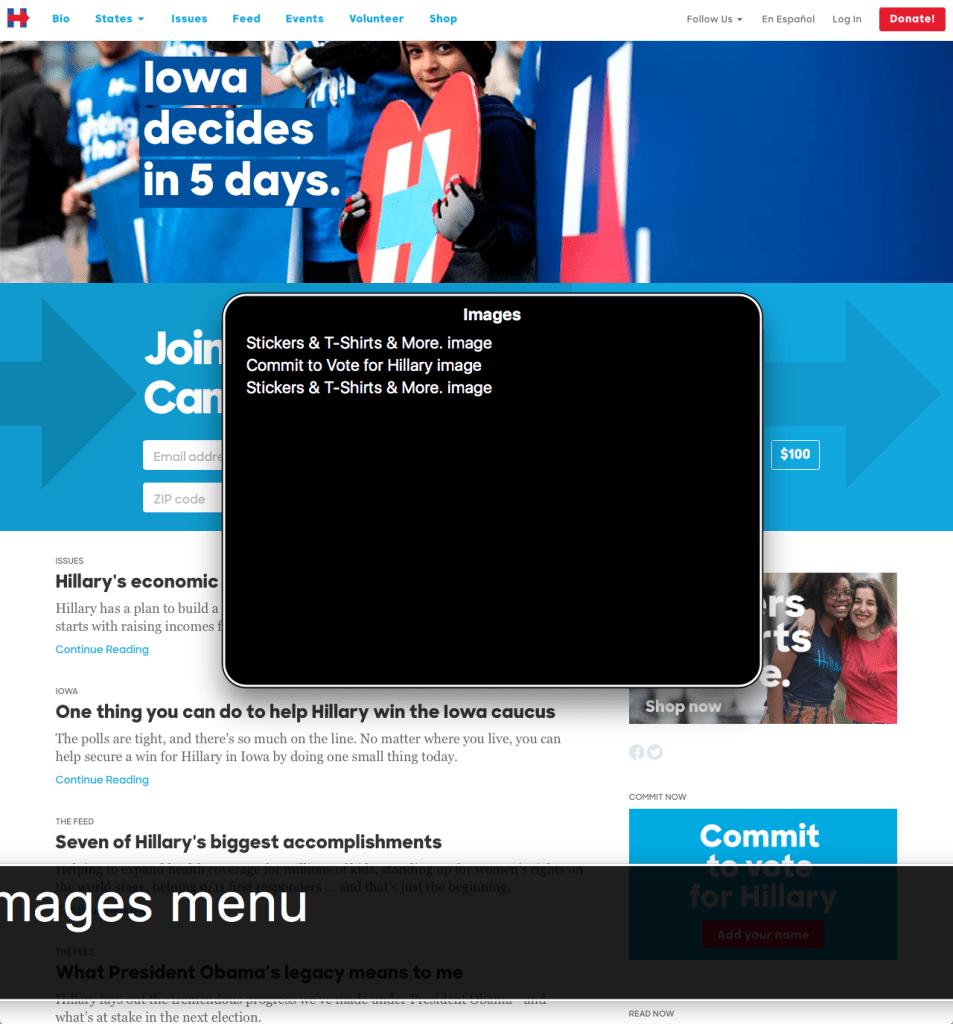 Screenshot of Clinton's website