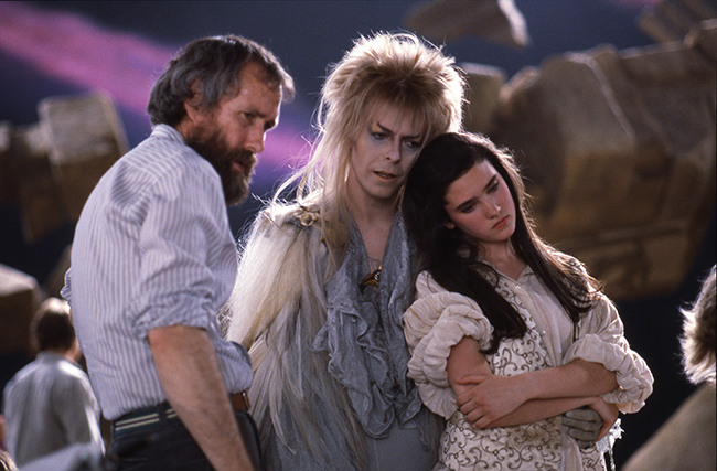 Jim Henson, David Bowie, & Jennifer Connelly on Labyrinth set