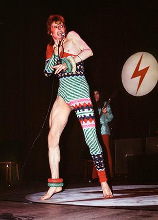 David Bowie in Kansai Yamamoto leotard. Photo by Mick Rock