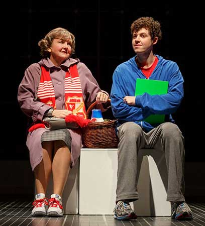 Amelia White as Mrs. Alexander and Adam Langdon as Christopher Boone in the touring production of The Curious Incident of the Dog in the Night - Time . Photo: Joan Marcus