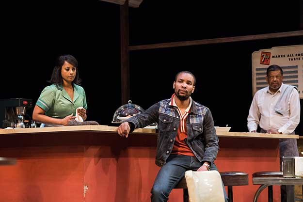 Nicole Lewis (Risa), Carlton Byrd (Sterling), Eugene Lee (Memphis) in Seattle Repertory Theatre's production of August Wilson's Two Trains Running .(Photo by Nate Watters) on equality365.com