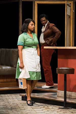 "Nicole Lewis (Risa) and Reginald Andre Jackson (Wolf) in Seattle Repertory Theatre's production of August Wilson's ""Two Trains Running."" Photo by Nate Watters."