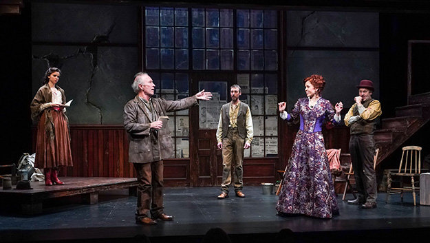 Hannah Ruwe (Elsa), R. Hamilton Wright (Per), Christopher McLinden (Henning), Kirsten Potter (Helga), and Allen Fitzpatrick (Pekka) in Seattle Repertory Theatre's Ibsen in Chicago. (Photo by Alan Alabastro) on equality365.com
