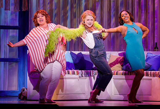 "Sarah Rudinoff as Rosie, Kendra Kassebaum as Donna and Lisa Estridge as Tanya perform ""Dancing Queen"" in Mamma Mia! (Photo by Mark Kitaoka) on equality365.com"