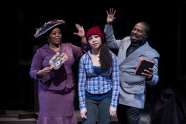 Marlette Buchanan, Bethanie Willis and Vincent 'VJ' Orduña in Crowns at Taproot Theatre. (Photo by John Ulman.) on equality365
