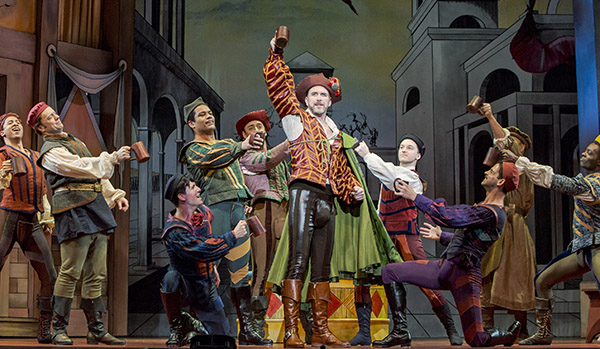 """Ben Davis as Fred Graham/Petruchio and the company of """"Kiss Me, Kate"""" at Seattle's 5th Avenue Theatre (Photo Credit Tracy Martin) on equality365.com"""