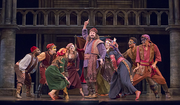 "Dane Stokinger as Clopin and the cast of ""The Hunchback of Notre Dame"" (Photo Credit Tracy Martin)"