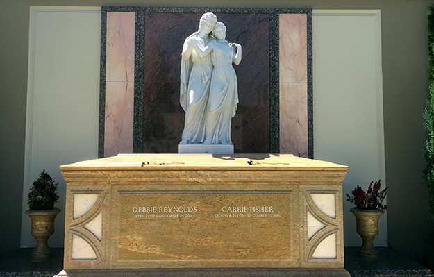 Final resting place of Debbie Reynolds and Carrie Fisher (photo by Eric Andrews-Katz)