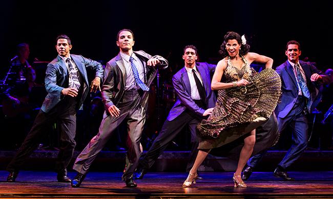 Joseph Rivera, Adriel Flete, Jeremey Adam Rey, Nancy Ticotin as Gloria Fajardo and Hector Maisonet, ON YOUR FEET! (photo © Matthew Murphy)
