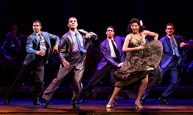Joseph Rivera, Adriel Flete, Jeremey Adam Rey, Nancy Ticotin as Gloria Fajardo and Hector Maisonet, ON YOUR FEET! (photo © Matthew Murphy)