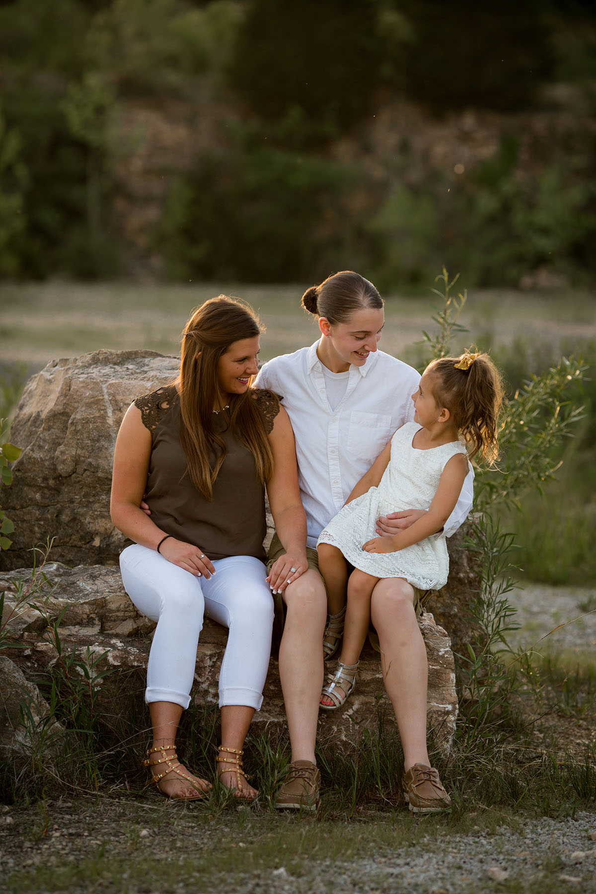 Sunset family portraits by the lake