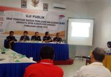 Uji Publik Draf Penataan Dapil dan alokasi kursi Anggota DPRD Sanggau 2019, Kamis (8/2) di hotel Meldy, Sanggau---Kiram Akbar