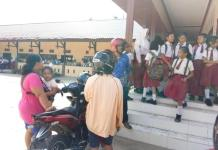 HARI PERTAMA. Suasana hari pertama masuk sekolah di SMPN 1 Ngabang, Senin (9/7). Antonius-RK