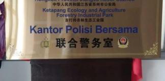 SEKEDAR WACANA. Plang kantor polisi bersama Tiongkok dengan Polres Ketapang yang beredar di media sosial, Kamis (12/7). Warganet for RK