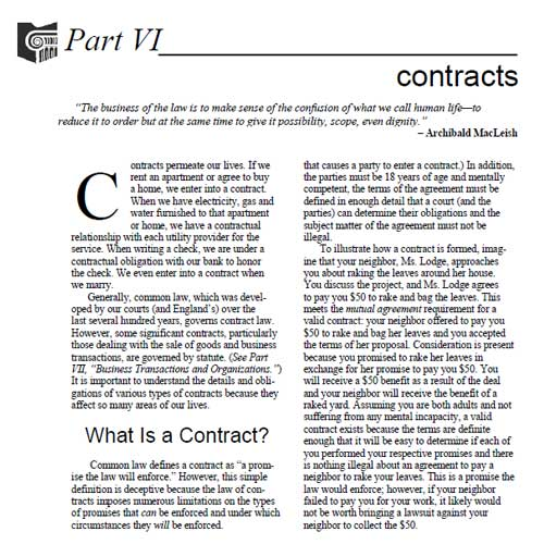 OSBA The Law & You Part VI Contracts