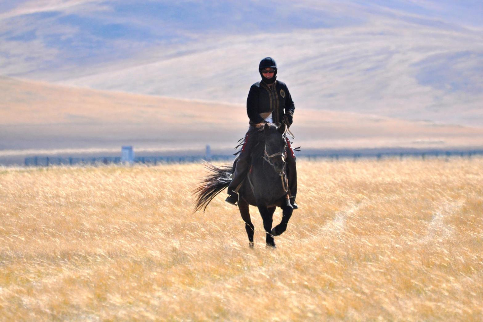 Julie learned to ride horses in Mongolia at the age of 50