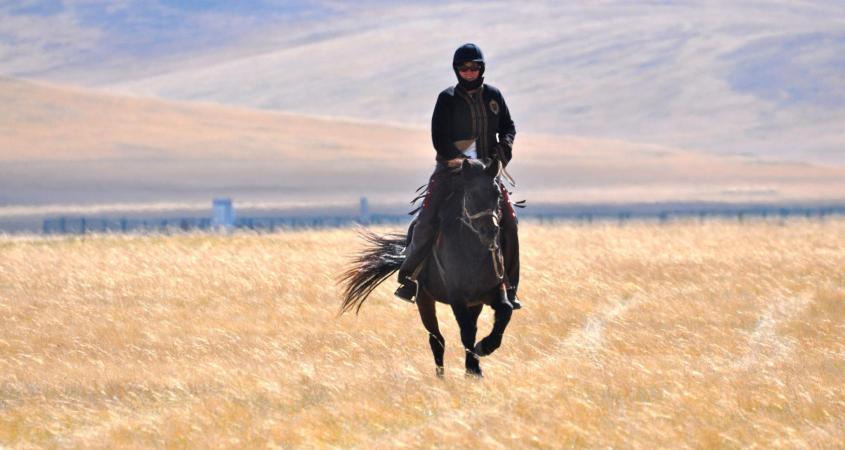 In this picture Julie, chief of the Gobi Gallop, is learning to ride horses in Mongolia at the age of 50