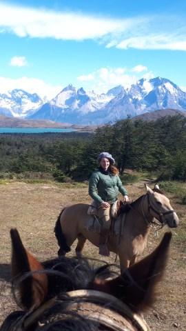 Hebe in full Gaucha attire when guiding a trail riding tour in Chile