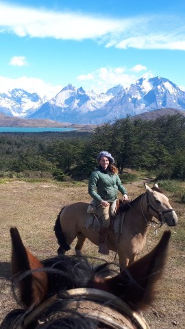 Hebe in full Gaucha attire when guiding a trail riding tour in Chile