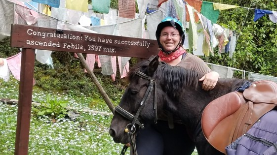 Amber and her Bhutanese mountain pony successfully climbed the Febila pass at 3597m height