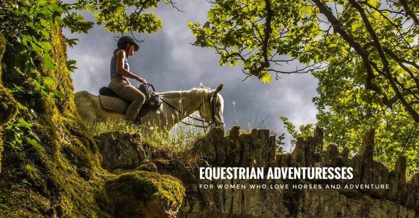 An equestrian adventuress crosses a medieval bridge in Albania