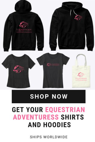 Stylish shirts and comfortable hoodies are available in the Equestrian Adventuresses shop