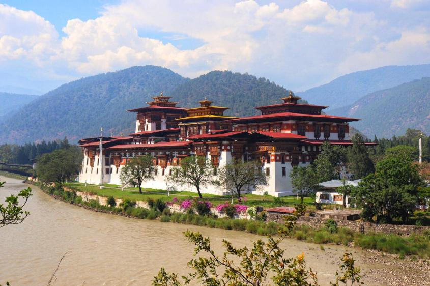 A view at the Punakha Dzong in Bhutan