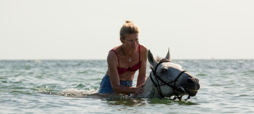 Caludia is swimming with her safari horse in the Indian Ocean in Mozambique