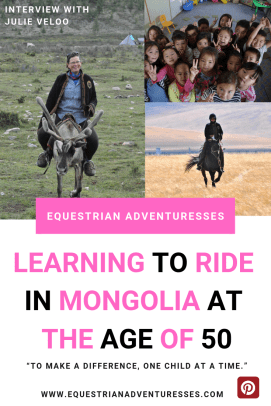 Pinterest Pin: Julie Veloo, chief of the Gobi Gallop - Learning to Ride in Mongolia at age 50
