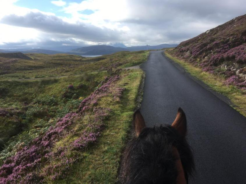 Leaving Durness on the way from Scotland to Cornwall on horseback