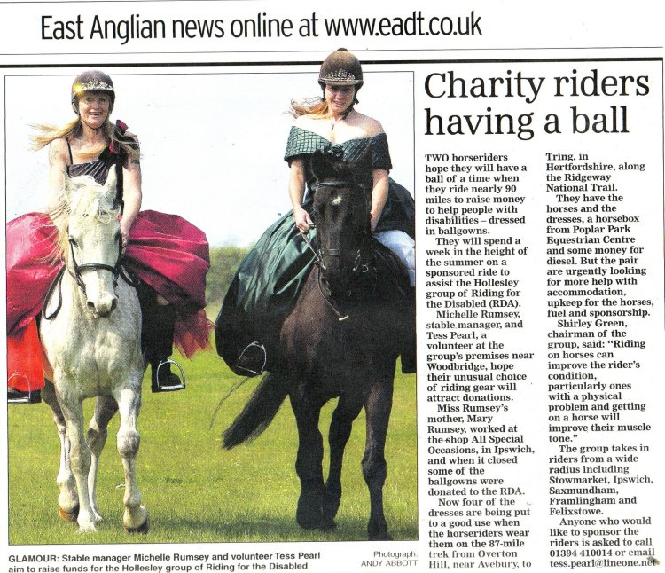 Newspaper article about horse riding in dresses for charity alone the Ridgeway