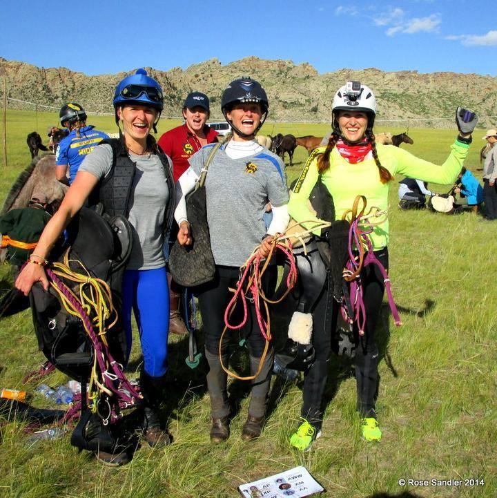 Mongol derby start photo of Katja and her riding buddies