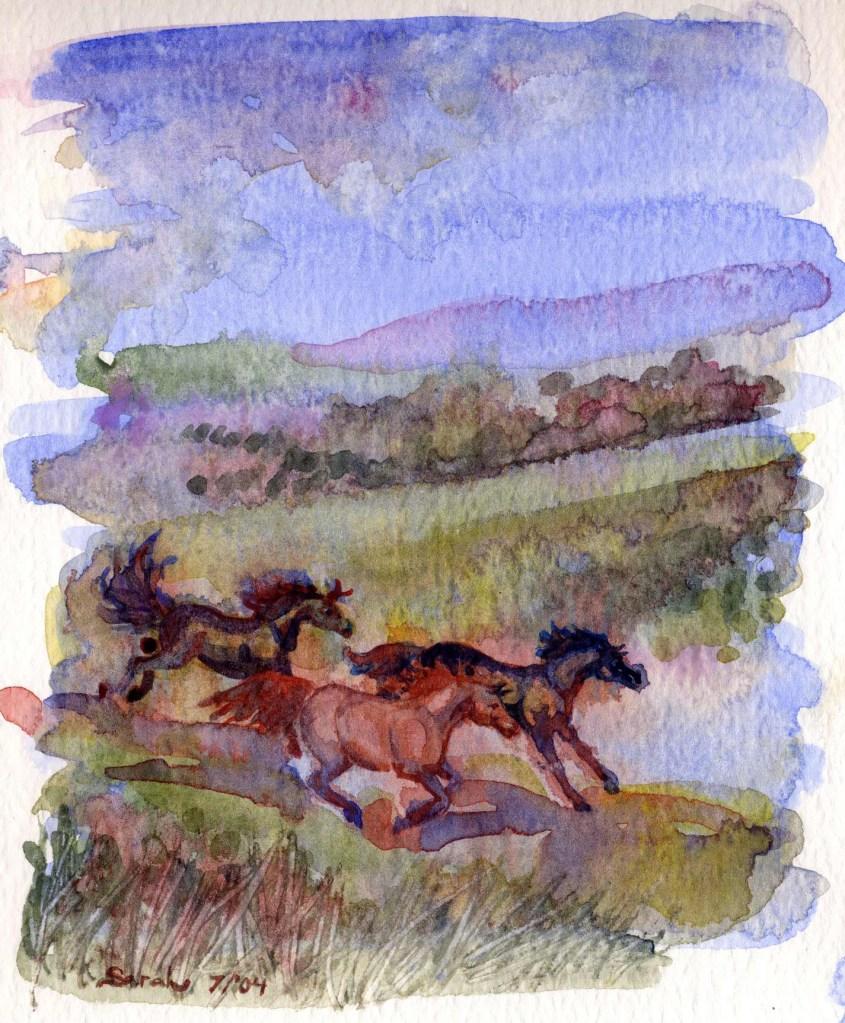 Artwork of a herd of running horses in Papua New Guinea