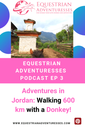 Pinterest podcast photo - Ep 3 Walking the Jordan Trail with a donkey