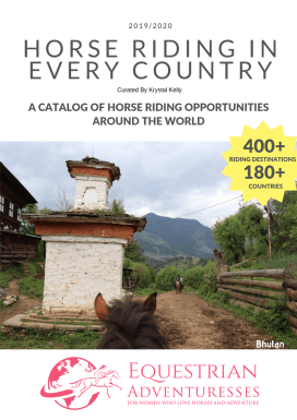 "Cover of the Catalog ""Horse Riding in Every County"" - A Selection of Equestrian Adventures for Women worldwide"