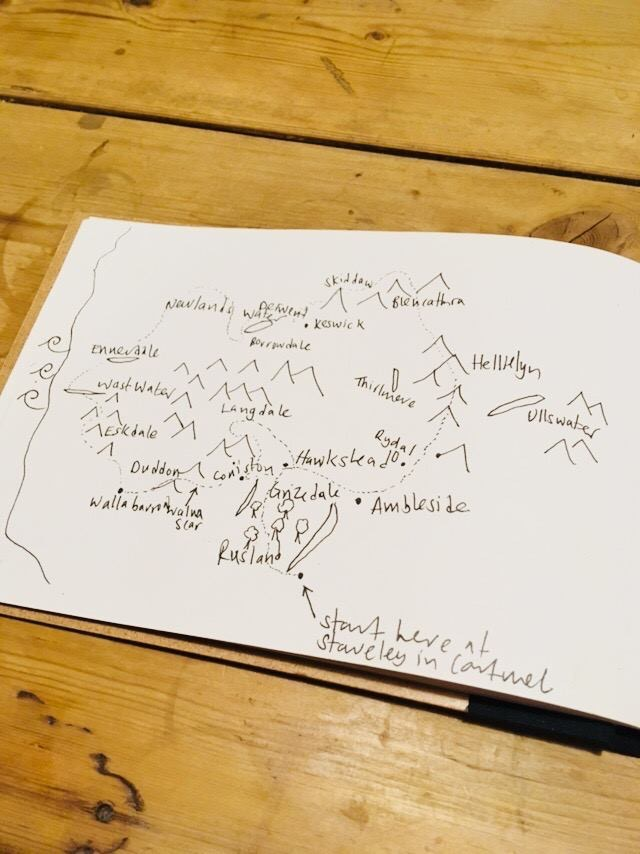 Horse Trekking through The Lake District: This was Clare's initial sketch of the route in her notebook.
