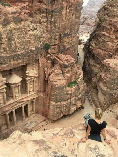 Enjoying the view on ancient Petra in Jordan