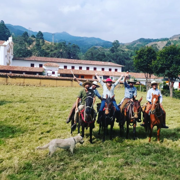Me and the 3 guides for our horse riding adventure in Colombia