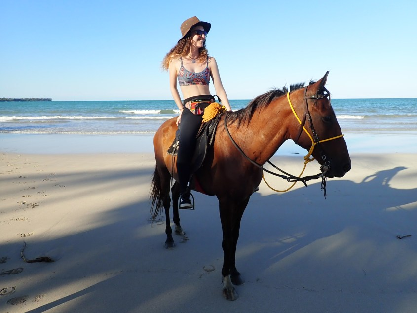 Having a short rest on the beach while horse riding in Brazil