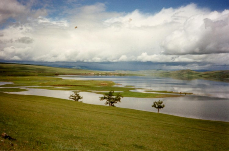 view from a hill over Tsagaan Nuur: the white lake
