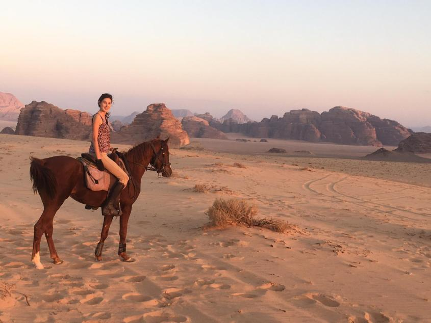 Horse and Rider admire the scenery while Horse Riding in Jordan