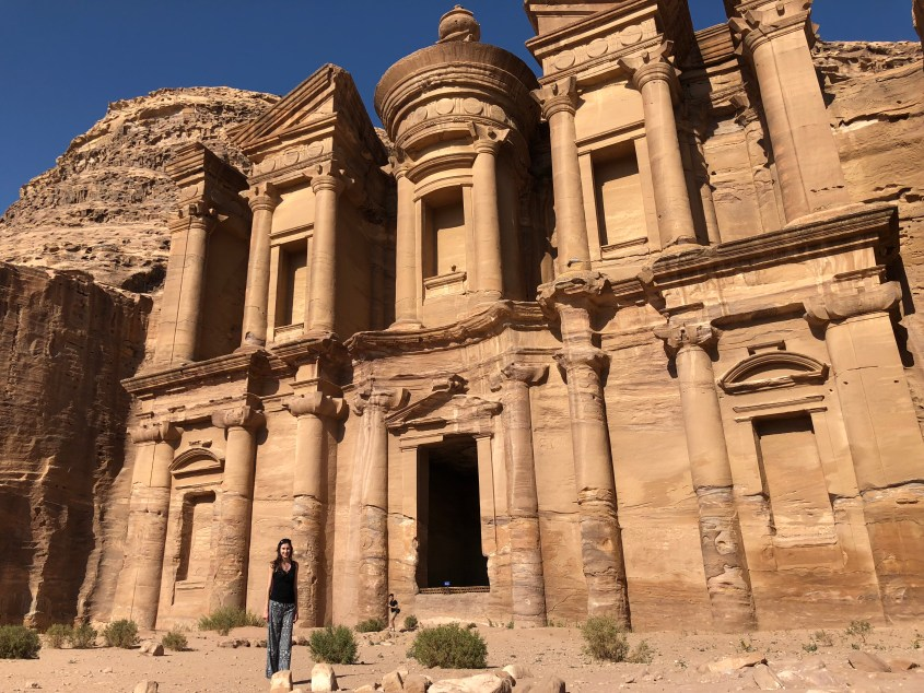 Posing in front of the monastery at Petra, Jordan
