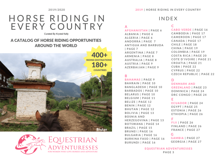 These are the cover and first page of index of our catalog. It lists Equestrian Adventures for Women. The best horseback riding vacations in the world are found in this catalog.