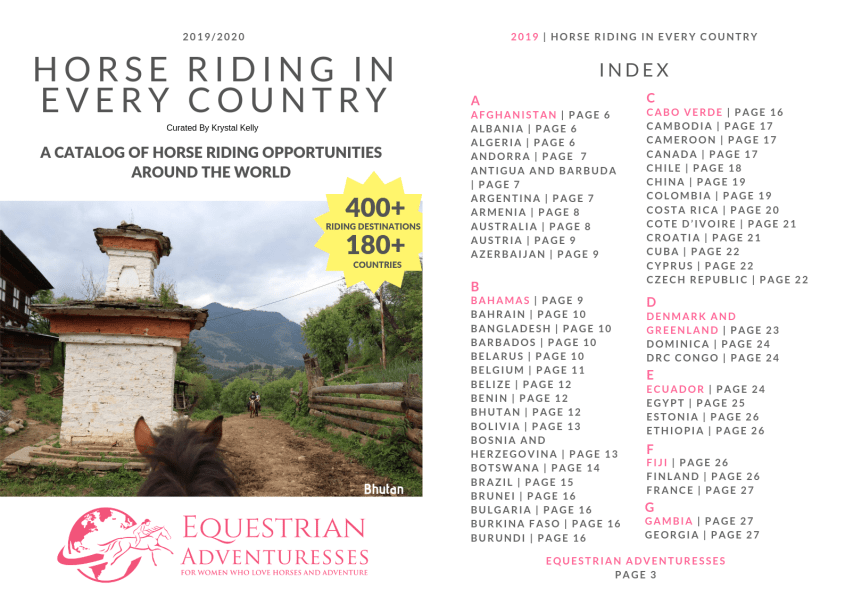 Find Equestrian Adventures for Women who like horse travel in Every Country in this Catalog - cover and first page of index shown