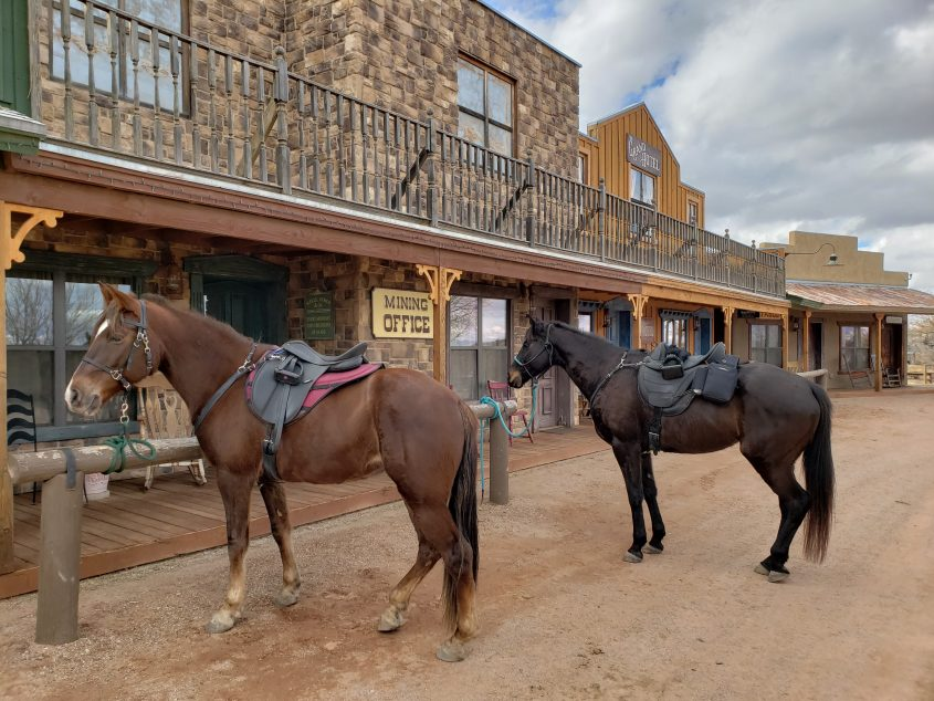 two horses tied in front of a saloon in Tombstone, Arizona