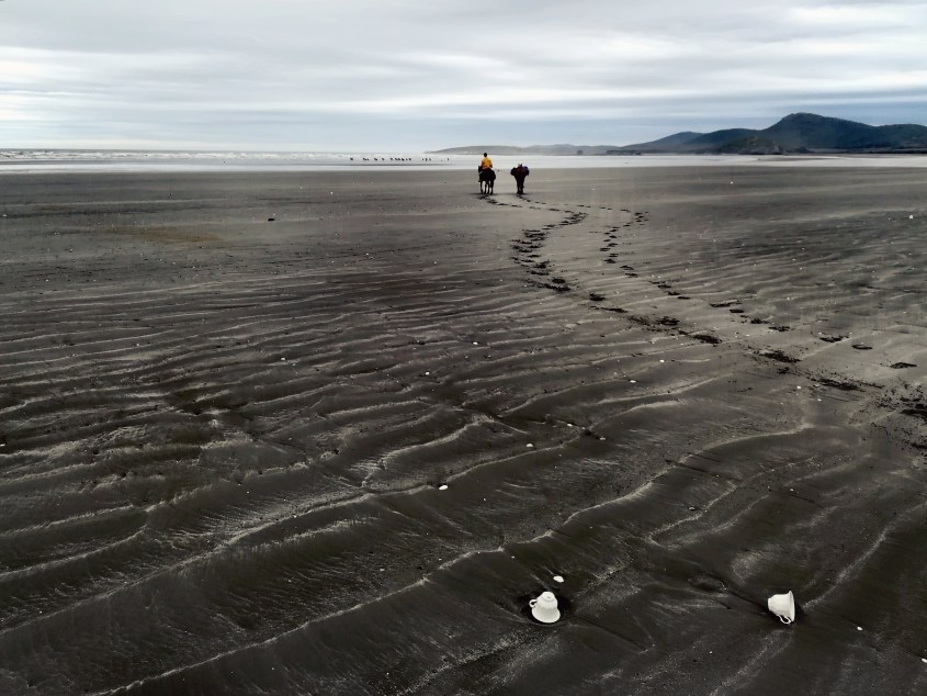 During a beach ride on Mitre Peninsula, some 100 year old cups are revealed by the low tide.